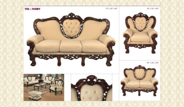 Leather Living Room 701 Ivory