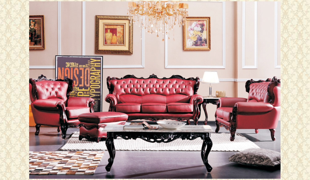 marvelous red leather living room furniture | Leather Living Room 2128 Red - Victorian Furniture