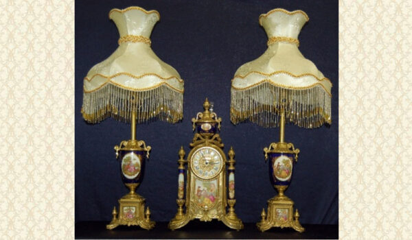 Victorian Clock And Lamps Set FC32BLU
