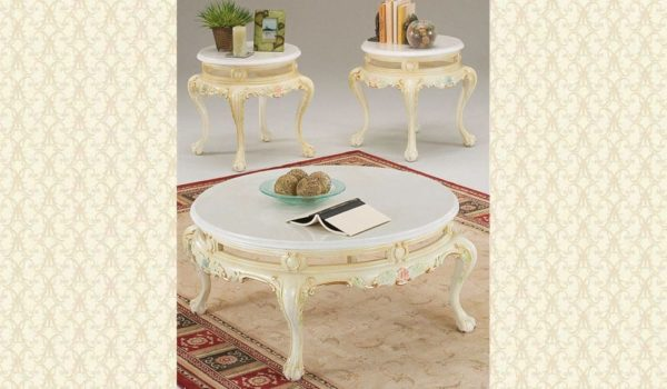 Victorian Cocktail & end Tables 106 ivory